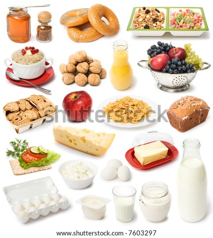 image set of fresh food on white background - stock photo