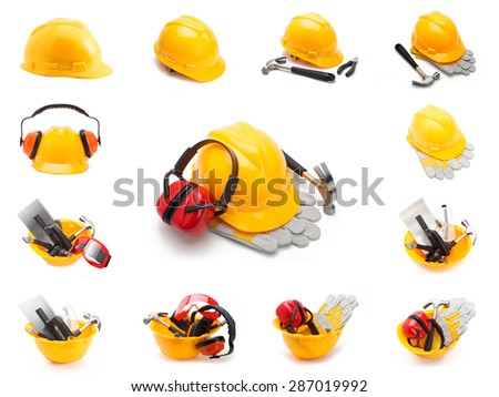 Image set of various helmets with tools - stock photo