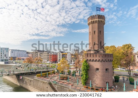 Image showing an old fort on the banks of the river rhine in germany, a tourist attraction close to cologne - stock photo