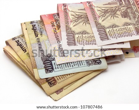 Image showing folded Indian notes of 500 & 1000 Rs. - stock photo