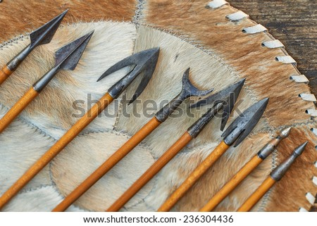 Image showing real handmade red indian arrows - stock photo