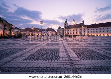 Image showing the Great Square in Sibiu, Romania. - stock photo