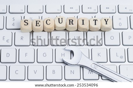 "Image shows a keyboard with letters ""security"""