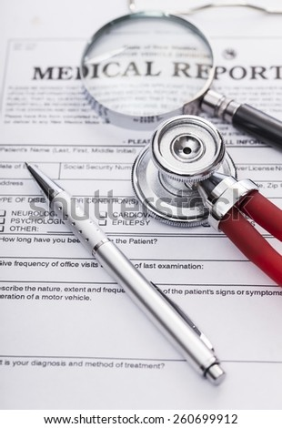 Image shows an advanced directive, stethoscope, magnifier and a pencil - stock photo