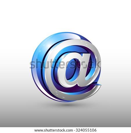 Image sign web. Blue 3d logo design. - stock photo