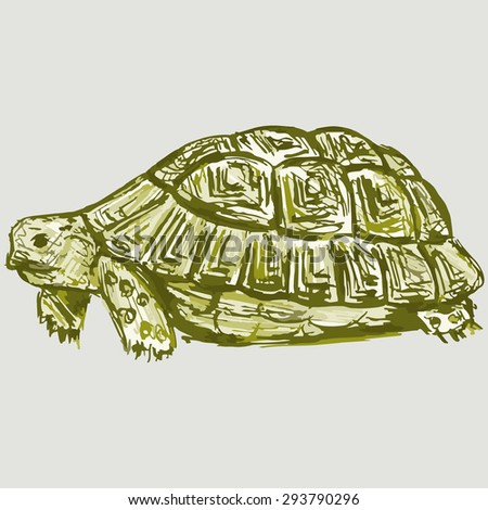 Image slow turtle. Raster version - stock photo