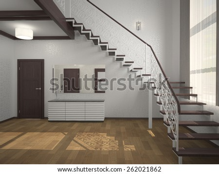 Image staircase in the lobby 3d rendering - stock photo