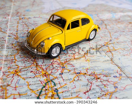 Image travel concept, small car yellow on thailand city map - stock photo