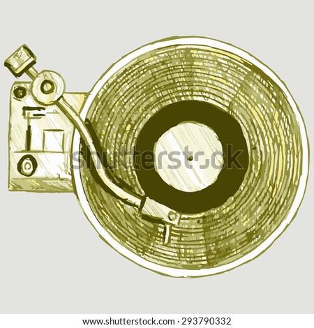 Image turntable. Musical equipment. Raster version - stock photo