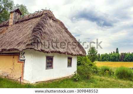 Image Ukrainian hut thatched sloping field near - stock photo