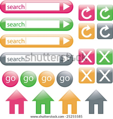 Image version of colorful web buttons, including search bars