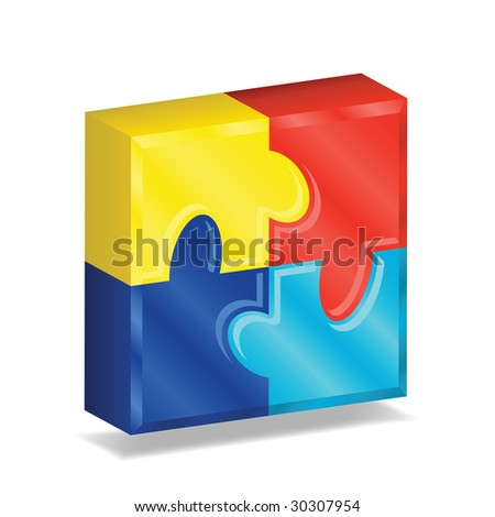 Image version of four brightly colored puzzle pieces arranged in a three-dimensional square, representing autism awareness - stock photo