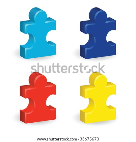 Image version of four brightly colored, three-dimensional puzzle pieces, representing autism awareness