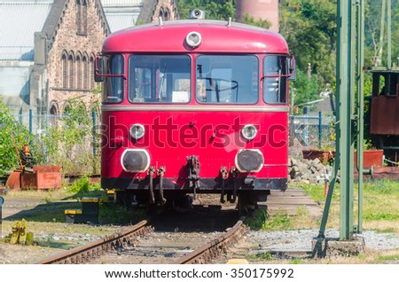 Image was revisedRed old railway bus - stock photo