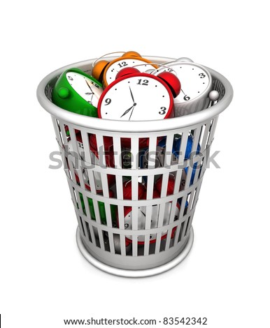 image waste baskets on a white background - stock photo