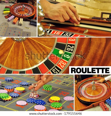 image with a casino roulette table game colage and text