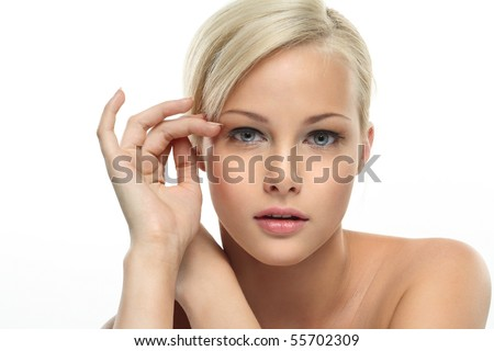 Image with beautiful blonde girl on white background closeup