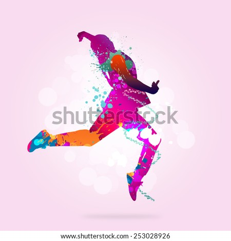 Image with color silhouette of dancer on color background - stock photo