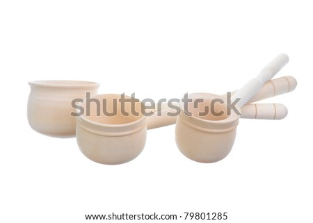 Image wooden ladle for the sauna. Isolated on white background