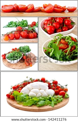 images Fresh salad with cherry tomatoes, rucola, mozzarella