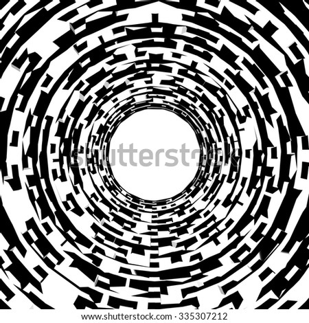 Images in the style of optical visual illusions - Op art. Background black and white illustration. The squares in the pipe stretching into the distance. - stock photo