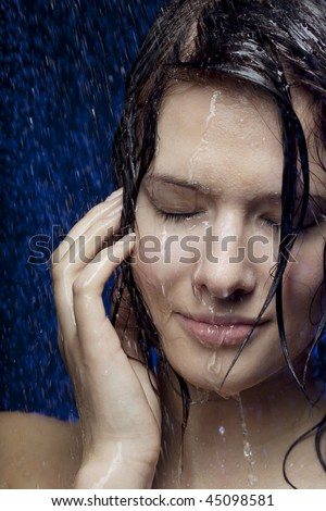 Images of a beautiful girl in the water - stock photo