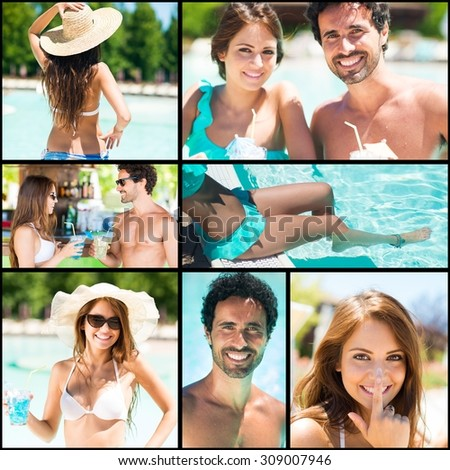 Images of a couple having fun at the pool - stock photo