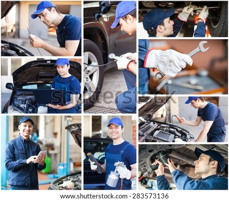 Images of a mechanic at work - stock photo