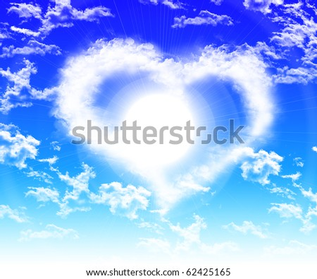 images of hearts in the blue sky against a background of white clouds