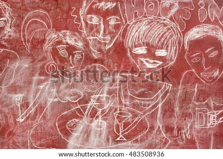 Images of people in the restaurant with white chalk on a red wooden wall