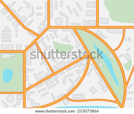 Imaginary City Map - stock photo