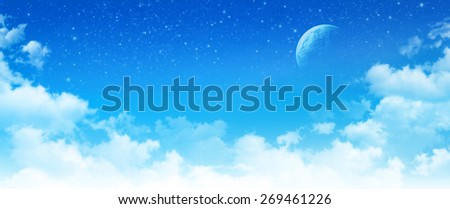 Imaginary panoramic cloudscape. High resolution sky background, star field and planet in deep space. - stock photo