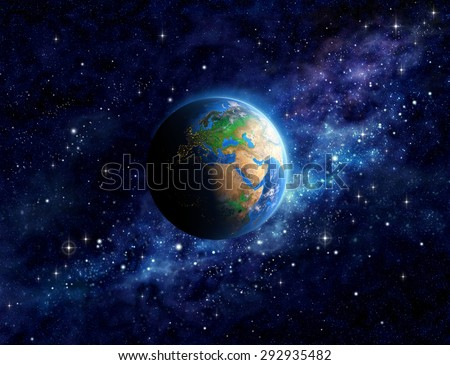 Imaginary view of planet Earth into deep space, focused on Europe, Asia and Middle East. Elements of this image furnished by NASA - stock photo