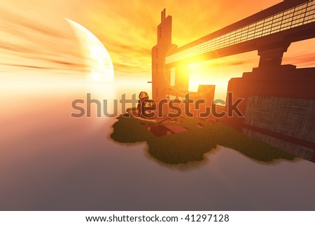 IMAGINE - Life on another world out in the universe. - stock photo