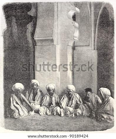 Imams in the Great Mosquee of Algers. Created by Janet-Lange, published on L'Illustration, Journal Universel, Paris, 1858 - stock photo