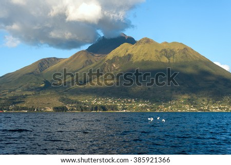 Imbabura inactive stratovolcano under the Lake San Pablo in northern Ecuador - stock photo