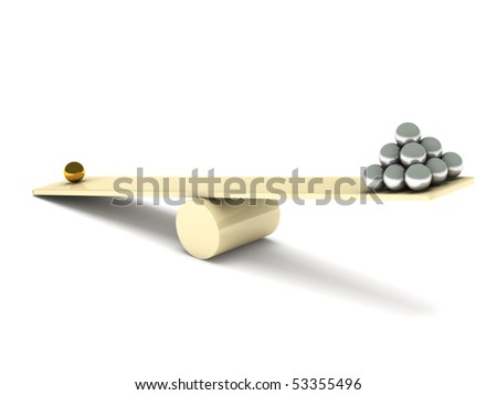 Imbalance. Metal balls on seesaw isolated on white background. High quality 3d render. - stock photo