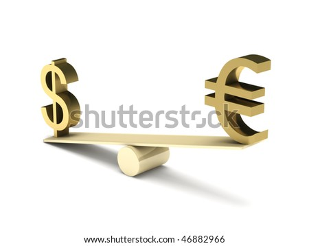 Imbalance of dollar and euro isolated on white background. High quality 3d render. - stock photo