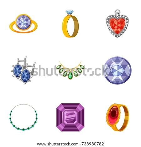 imitation jewelry icons set cartoon set stock illustration 738980782
