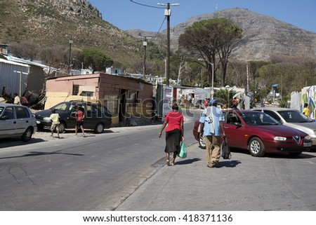 IMIZAMO YETHU TOWNSHIP WESTERN CAPE SOUTH AFRICA - APRIL 2016 - A general view of the Imizamo Yethu township at Hout Bay and the sub standard housing in which the residents live