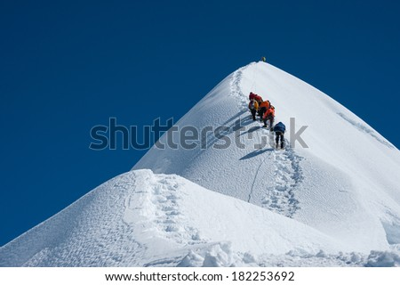Imja Tse or Island peak climbing, Everest region, Nepal. - stock photo