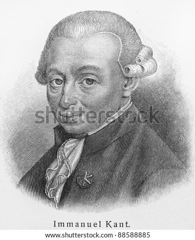 Immanuel Kant -  Picture from Meyers Lexicon books written in German language. Collection of 21 volumes published between 1905 and 1909. - stock photo