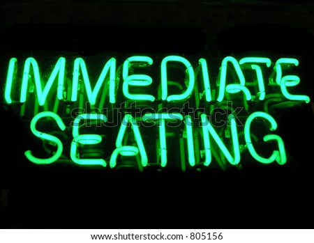 Immediate Seating sign at a restaurant