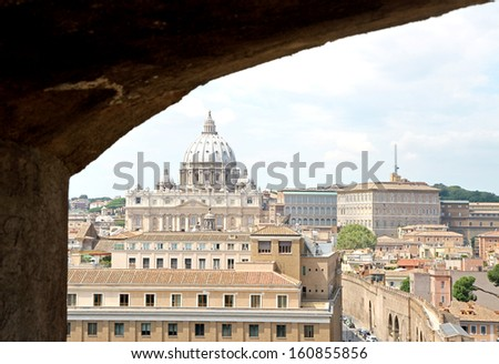immense dome of St. Peter's basilica from Castel Sant'Angelo - stock photo