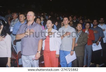 Immigrants Taking Pledge of Allegiance, Los Angeles, California - stock photo