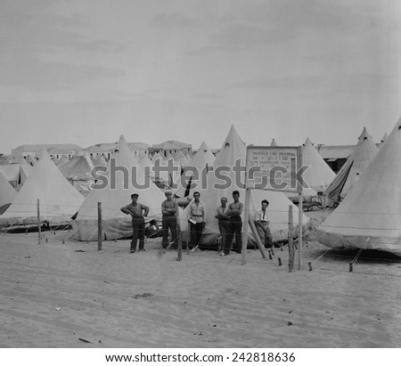 Immigration camp for newly arrived Jews in Tel Aviv, Palestine in the 1920s. - stock photo