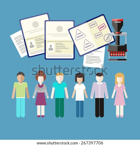 Immigration concept in flat design. Migration control. A group of people with stamps in passports on customs. Raster version - stock photo