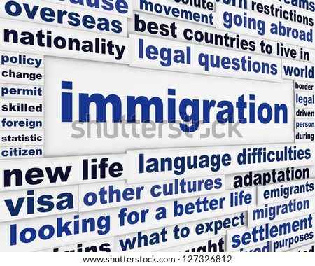 Immigration creative words conceptual message background. Looking for a better life international migration concept - stock photo