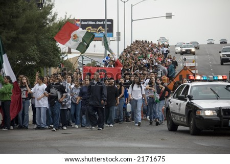 Immigration Protest in Las Vegas Nevada 3/28/2006 - stock photo