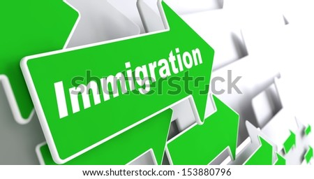 """Immigration - Social Background. Green Arrow with """"Immigration"""" Slogan on a Grey Background. 3D Render. - stock photo"""